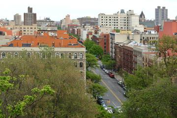 Beautiful view of South Harlem and Morningside Park from Morningside Drive in Morningside Heights neighborhood of Manhattan, New York City