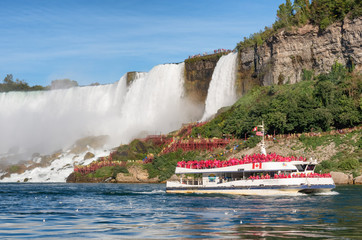 Boat Hornblower with tourists at the bottom of Horseshoe waterfall.