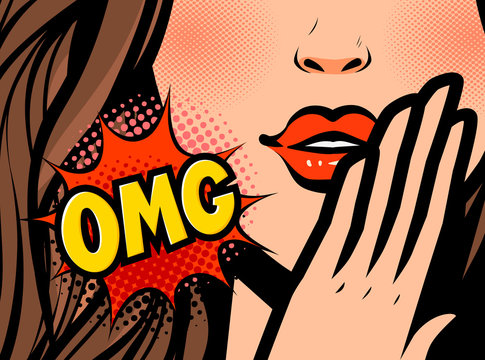Pop art female face. Closeup of sexy young woman. OMG, vector illustration