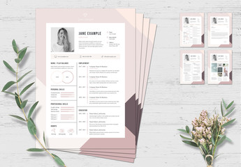 Resume and Cover Letter Set with Pink and Purple Border