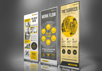 Gray and Yellow Roll-Up Banner