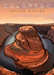 Colorado modern poster vector illustration.Colorado desert landscape,United states.