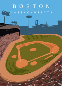 Boston modern vector poster. Boston, Massachusetts landscape illustration. Top 30 most populated cities of the USA.