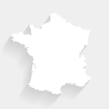 Simple white France map on gray background, vector