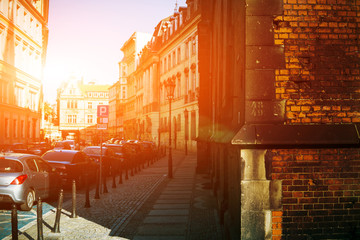 Foto auf AluDibond Braun Beautiful urban landscape. The sun brightens old houses in the center of Wroclaw