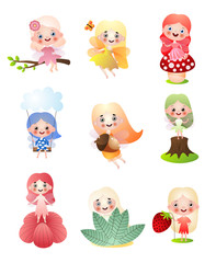 Keuken foto achterwand Beren Set of different forest fairy girls in colorful clothes