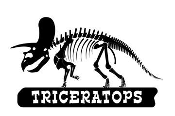 Dinosaur skeleton. Triceratops. Silhouette on isolated background. Sticker, magnet. Vector