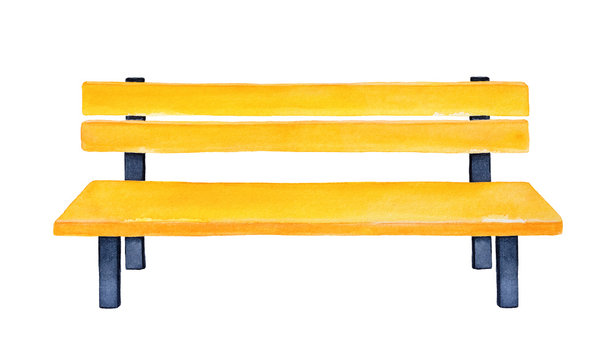 Bright yellow wooden bench. One single object. Nice furniture to decorate park, yard, patio, garden, kids playground, kindergarten. Handdrawn watercolour drawing, cutout clip art design element.