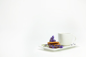 Poster Lavender Morning cup of coffee with wafers and lavander decoration