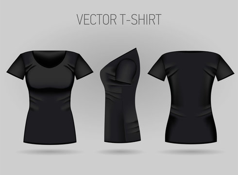 Blank women's black t-shirt in front, back and side views. Vector illustration. Isolated on white background. Realistic female sport shirts