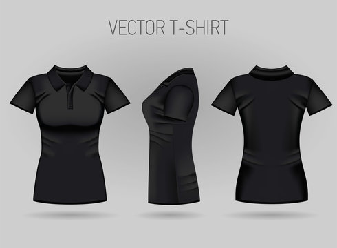 Blank women's black short sleeve polo shirt in front, back and side views. Vector illustration. Isolated on white background. Realistic female t-shirts