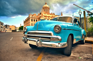 Canvas Prints Havana HAVANA, CUBA- JUN 7, 2016: old classic american car parked on the street of havana city