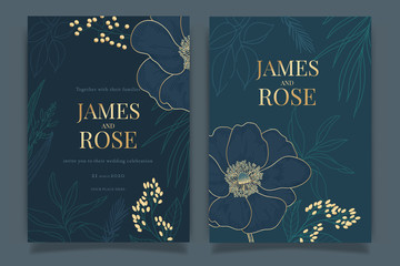 Navy Blue Wedding Invitation, floral invite thank you, rsvp modern card Design in Gold Peony with red berry and leaf greenery  branches decorative Vector elegant rustic template