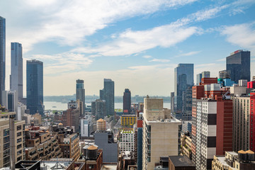 Fototapete - Aerial view of Manhattan skyscrapers, New York city, sunny spring day