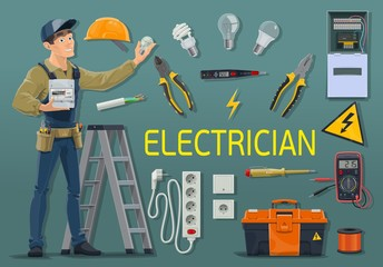Electrician with electricity meter and work tools