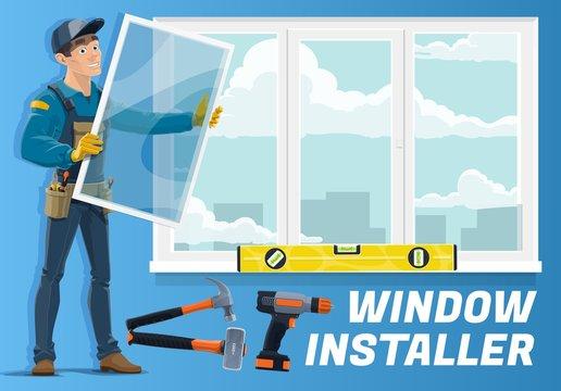 Home window installation service, installer worker