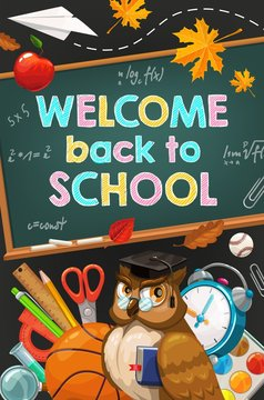 Welcome Back to School, owl and chalkboard