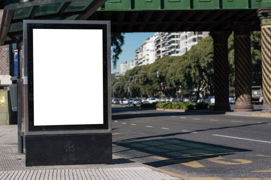 Mockup of white billboard on the street