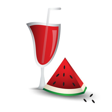 Slices of watermelon with glass, cocktail drink, web icon, sign, fruit vector