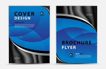 Blue cover template vector design, brochure flyer, annual report, mgazine ad, advertisement, book cover layout, poster, catalog, newspaper, creative idea Real Estate, blue abstract background, a4