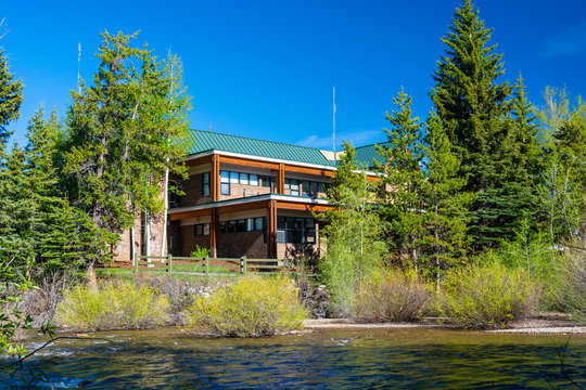 Silverthorne, Colorado Town Hall on a Sunny Day with the Blue River