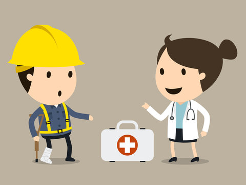 Doctor treats the worker, Safety and accident, Industrial safety cartoon, Vector illustration