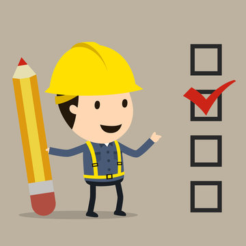Check list and pencil, Safety and accident, Industrial safety cartoon, Vector illustration