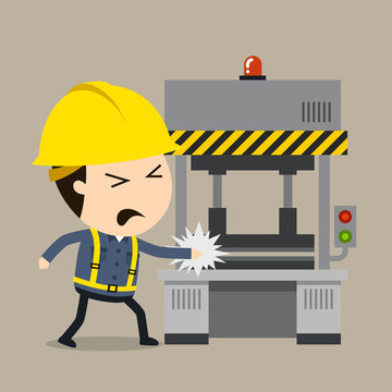 Accident during press operation, Vector illustration, Safety and accident, Industrial safety cartoon
