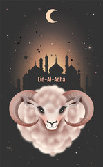 Eid al Adha greeting card for Feast of Sacrifice. Ram head on background of mosque
