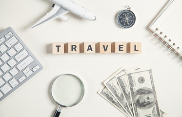 Word travel on wooden cubes. Travel