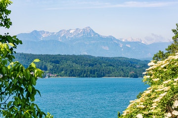 View of an Austrian lake in the Alps (Wörther See)