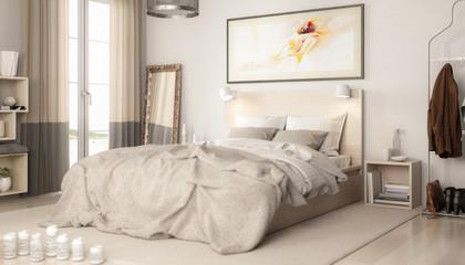 Contemporary Bedroom Arrangement (focused) - 3d visualization