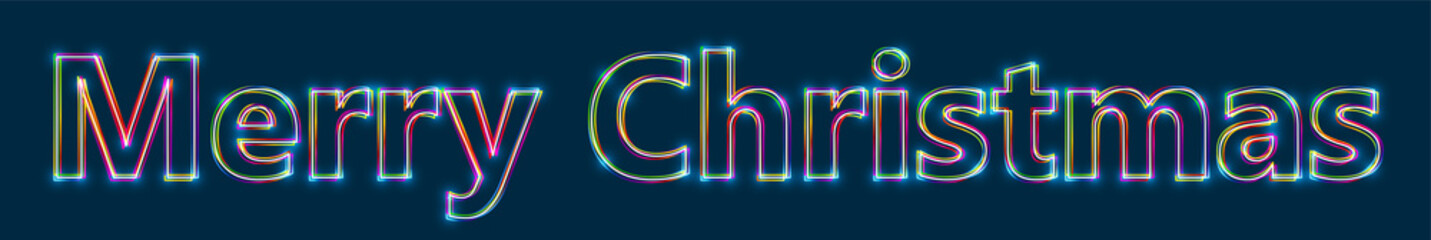 Merry Christmas - Colorful multi-layered outline text with glowing light effect on blue background.