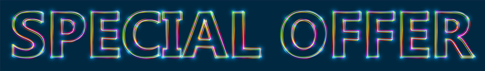 SPECIAL OFFER - Colorful multi-layered outline text with glowing light effect on blue background.