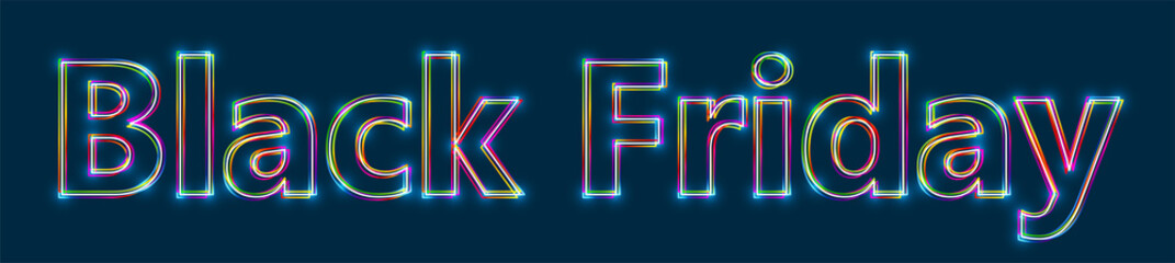 Black Friday - Colorful multi-layered outline text with glowing light effect on blue background.