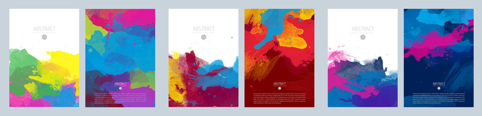 Bright colorful vector paint splash background template set for brochure, poster or flyer