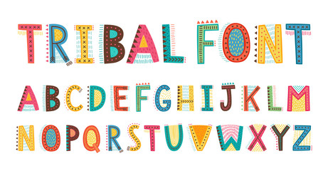 Tribal cute alphabet font. Uppercase doodle Letters. Wall mural