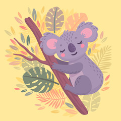 Wall Mural - Cute hand drawn koala sleeping on the branch.