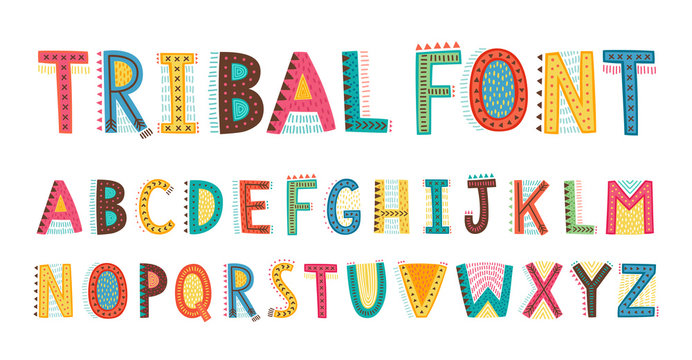 Tribal cute alphabet font. Uppercase doodle Letters.