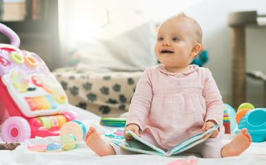 Portrait of cute baby girl, light effect