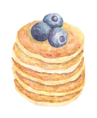 Watercolor illustration with pancakes