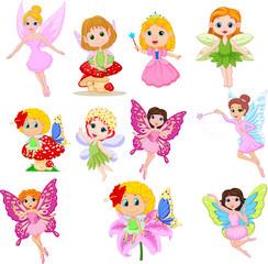 Lamas personalizadas infantiles con tu foto Set of cute beautiful fairies cartoon isolated on a white background