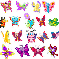 Set of cartoon butterflies on white background
