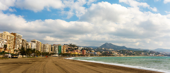 Panorama view of Malaga city and beach Costa del Sol resort Andalusia Spain