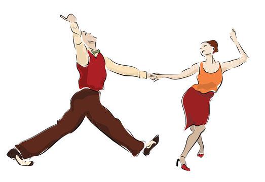 Swing dancing couple. Lindy Hop dancers swinging party