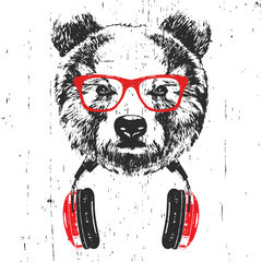 Door stickers Hand drawn Sketch of animals Portrait of Bear with glasses and headphones. Hand-drawn illustration. T-shirt design. Vector