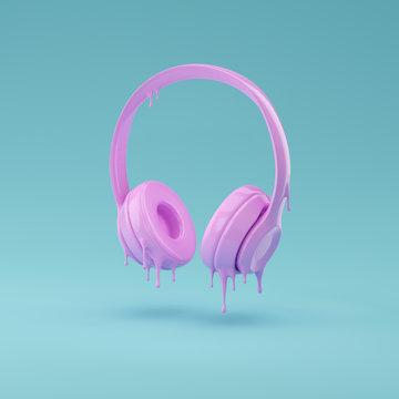Headphones covered in pink liquid