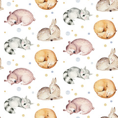 Cute dreaming cartoon animal hand drawn watercolor seamless pattern. Sleeping charecher kids nursery wear fashion design, baby shower invitation