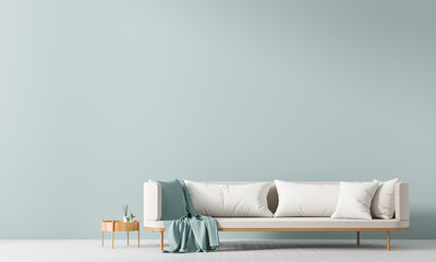 Empty wall mock up in Scandinavian style interior with sofa. Minimalist interior design. 3D illustration. Wall mural