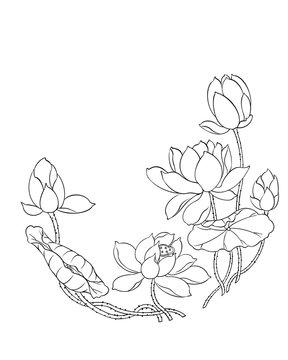 Illustration of lotus flowers and leaves, digital art, black and white.
